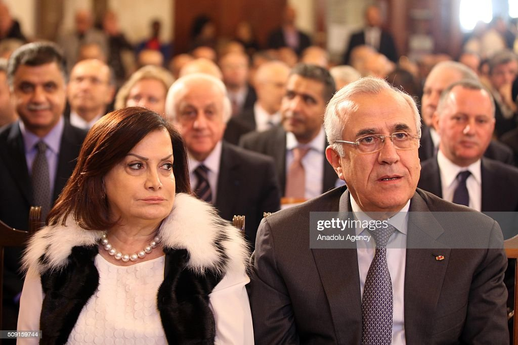 Former Lebanese President Michel Suleiman (right) and his wife Wafaa Sleiman (left), attend a service for Saint Maroun Day at the Maronite Church in Beirut, Lebanon on February 9, 2016.