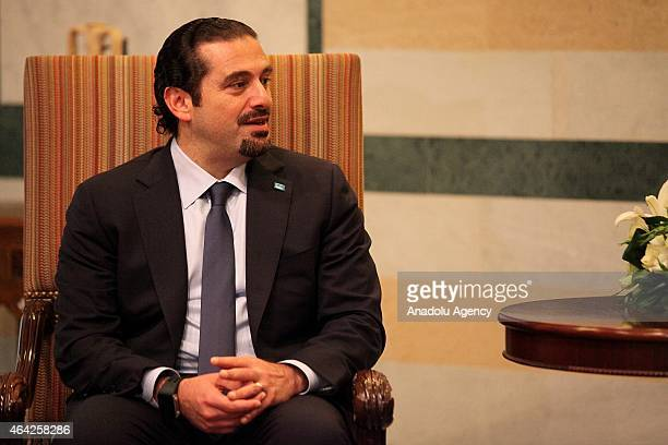 Former Lebanese Prime Minister and leader of Future Movement Saad Hariri meets with Lebanese PM Tammam Salam at the Governmental Palace in Beirut...