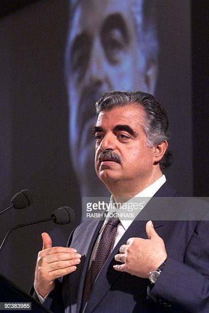 Former Lebanese Prime Minister Rafiq Hariri gives a speech during a seminar at The Emirates International Forum in Jumaira beach hotel in Dubai 16...