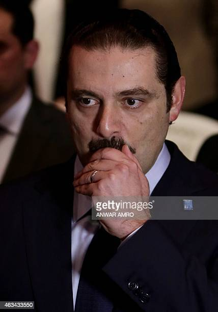 Former Lebanese prime minister Saad Hariri attends a gathering to mark the tenth anniversary of the assassination of his father and former prime...