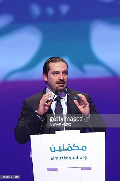 Former Lebanese prime minister Saad Hariri gestures as he delivers a speech during a gathering to mark the tenth anniversary of the assassination of...