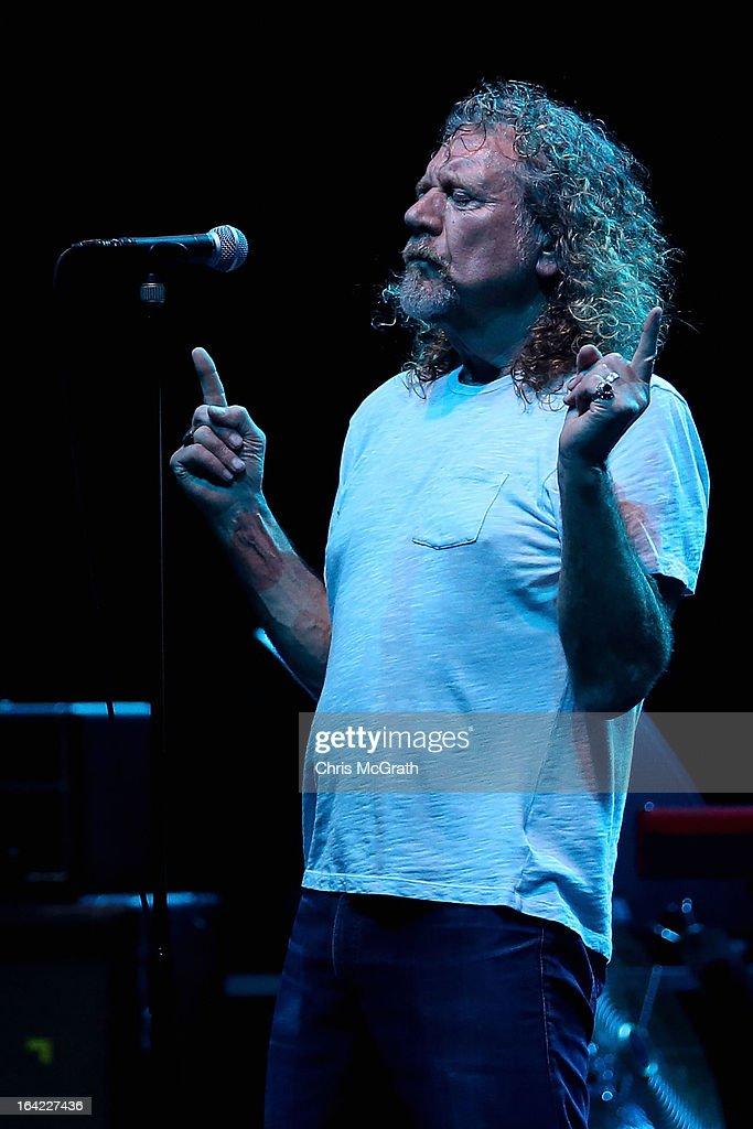Former Led Zeppelin lead singer Robert Plant performs with his band The Sensational Space Shifters during the Timbre Rock & Roots Festival 2013 on March 21, 2013 in Singapore.