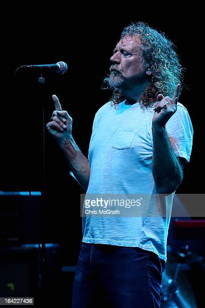 Former Led Zeppelin lead singer Robert Plant performs with his band The Sensational Space Shifters during the Timbre Rock Roots Festival 2013 on...