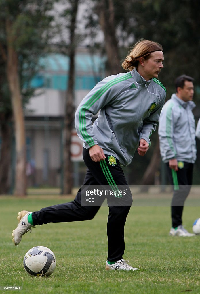 Former Liaoning player Ryan Griffiths in action during a Beijing Guo'an training session on January 11 2009 in Kunming Yunnan Province of China...