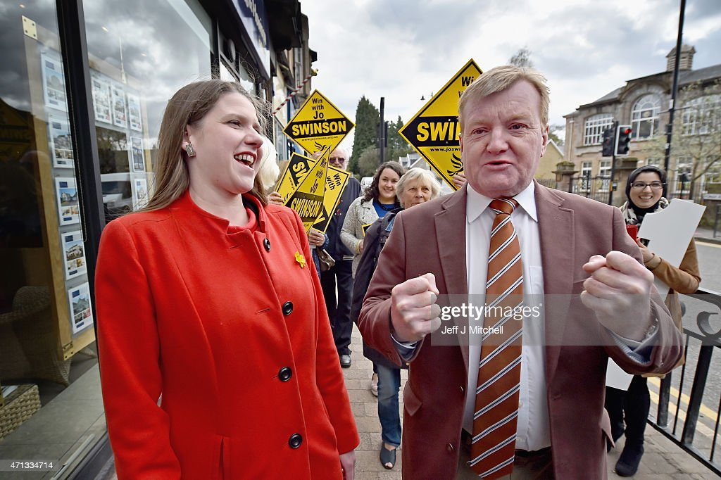 Former Liberal Democrat leader Charles Kennedy campaigns with Business Minister Jo Swinson in East Dunbartonshire as the Lib Dem campaign gears up for the final phase of the general election on April 27, 2015 in Glasgow, Scotland. As the campaign enters the final ten days the countrys political parties are stepping up the campaign to appeal for votes from the undecided electorate.