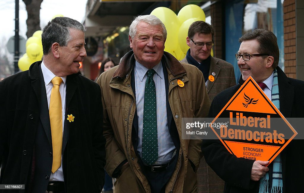 Former Liberal Democrat leader Lord Paddy Ashdown (C) campaigns with Liberal Democrat candidate Mike Thornton (L) for the forthcoming by-election on February 26, 2013 in Eastleigh, England. The by-election is being fought for the former seat of ex-Liberal Democrat MP Chris Huhne and will be held on February 28, 2013.