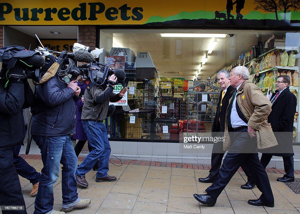 Former Liberal Democrat leader Lord Paddy Ashdown (2nd R) walks towards television camera crews as he campaigns with Liberal Democrat candidate Mike Thornton (3rd R) for the forthcoming by-election on February 26, 2013 in Eastleigh, England. The by-election is being fought for the former seat of ex-Liberal Democrat MP Chris Huhne and will be held on February 28, 2013.