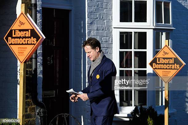 Former Liberal Democrat leader Nick Clegg canvasses for prospective parliamentary candidate Sarah Olney ahead of the Richmond Park and North Kingston...