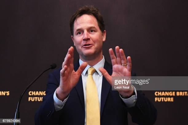 Former Liberal Democrat leader Nick Clegg gives a speech at the National Liberal Club on May 2 2017 in London England During his speech Mr Clegg...