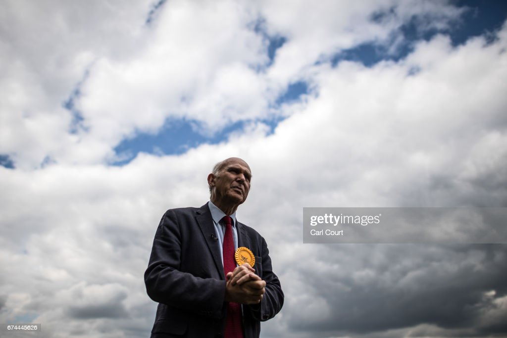 Former Liberal Democrat Secretary of State for Business, Innovation and Skills, Vince Cable, speaks during an interview with a journalist after launching his campaign to return to parliament and warning of the risk of a second 'economic storm' caused by a hard Brexit, on April 28, 2017 in Twickenham, England. Britain is to go to the polls on June 8, after British Prime Minister Theresa May called for a snap general election.