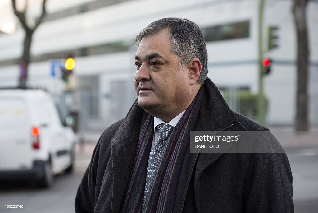 Former Liberty Segura's cycling team director Manolo Saiz arrives at a court house in Madrid on January 28, 2013. Spanish Doctor Eufemiano Fuentes, accused of masterminding a vast doping network that rocked the sporting world and snared top cyclists went on trial along with four alleged conspirators. The case centres on a sophisticated network which was blown wide open on May 23, 2006 when Spanish police seized around 200 bags of blood in an investigation dubbed 'Operation Puerto'.