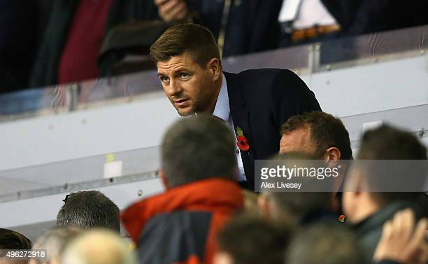 Former Liverpool Captain Steven Gerrard takes his seat in the stand during the Barclays Premier League match between Liverpool and Crystal Palace at...