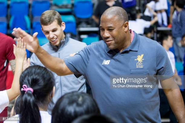 Former Liverpool FC player John Barnes attends the Premier League Asia Trophy Skills Session at Macpherson Stadium on July 18 2017 in Hong Kong Hong...