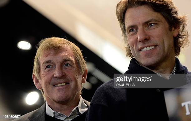 Former Liverpool football manager Kenny Dalglish and comedian John Bishop pose at the launch of the Hillsborough charity recording 'He Ain't Heavy...