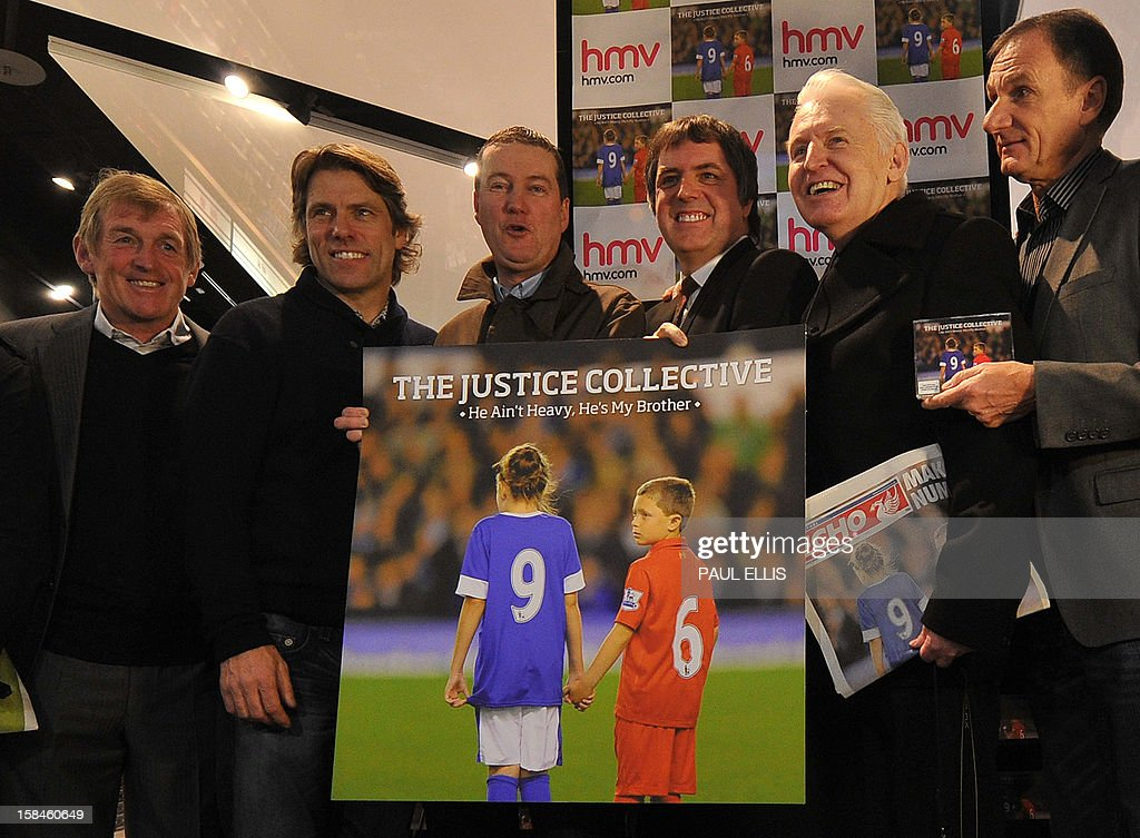 Former Liverpool football manager Kenny Dalglish, comedian John Bishop, Peter Hooten of band The Farm, Steve Rotherham MP, former Liverpool player Phil Thompson and photographer Mike McCartney pose for the media at the launch of the charity recording 'He Ain't Heavy, He's My Brother' at HMV in Liverpool, north-west England on December 17, 2012. The recording has been made to support the families of Liverpool football club supporters who died during the Hillsborough Disaster in 1989. Proceeds will go towards legal costs in the families' continued fight to quash the accidental death inquest verdicts. An application to overturn the verdict was made by Attorney General Dominic Grieve and is due before the High Court in London on December 19. AFP PHOTO/PAUL ELLIS
