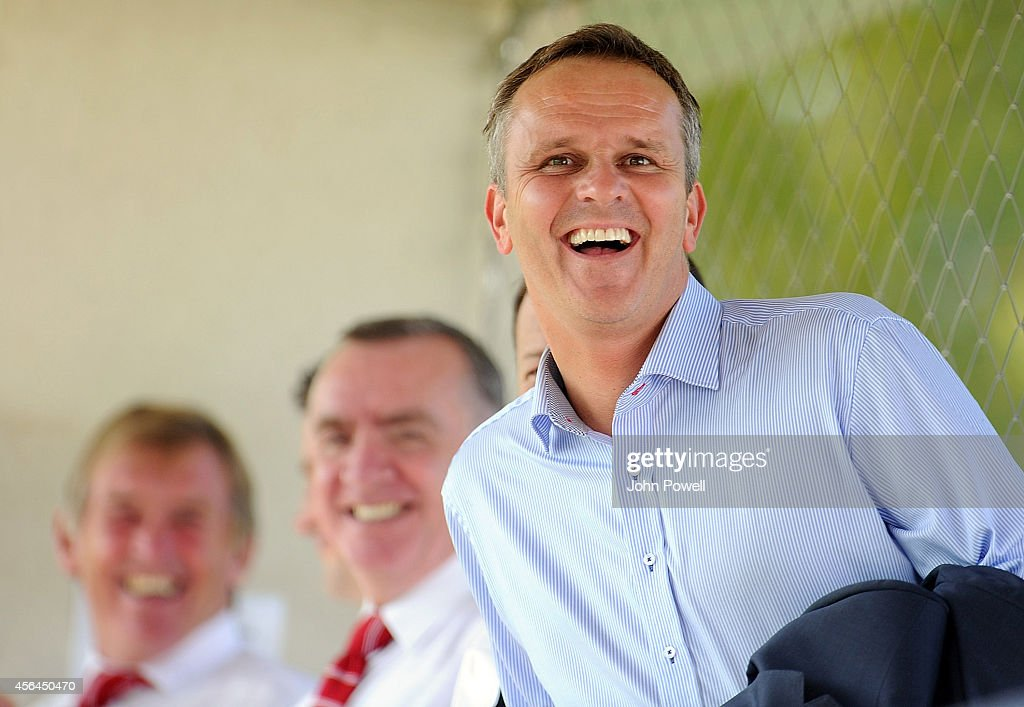 Former Liverpool player <a gi-track='captionPersonalityLinkClicked' href=/galleries/search?phrase=Dietmar+Hamann&family=editorial&specificpeople=204639 ng-click='$event.stopPropagation()'>Dietmar Hamann</a> attends the UEFA Youth League match between FC Basel 1893 Under 19s and Liverpool FC Under 19s at St Jakob-Park Training center on October 1, 2014 in Basel, Switzerland.