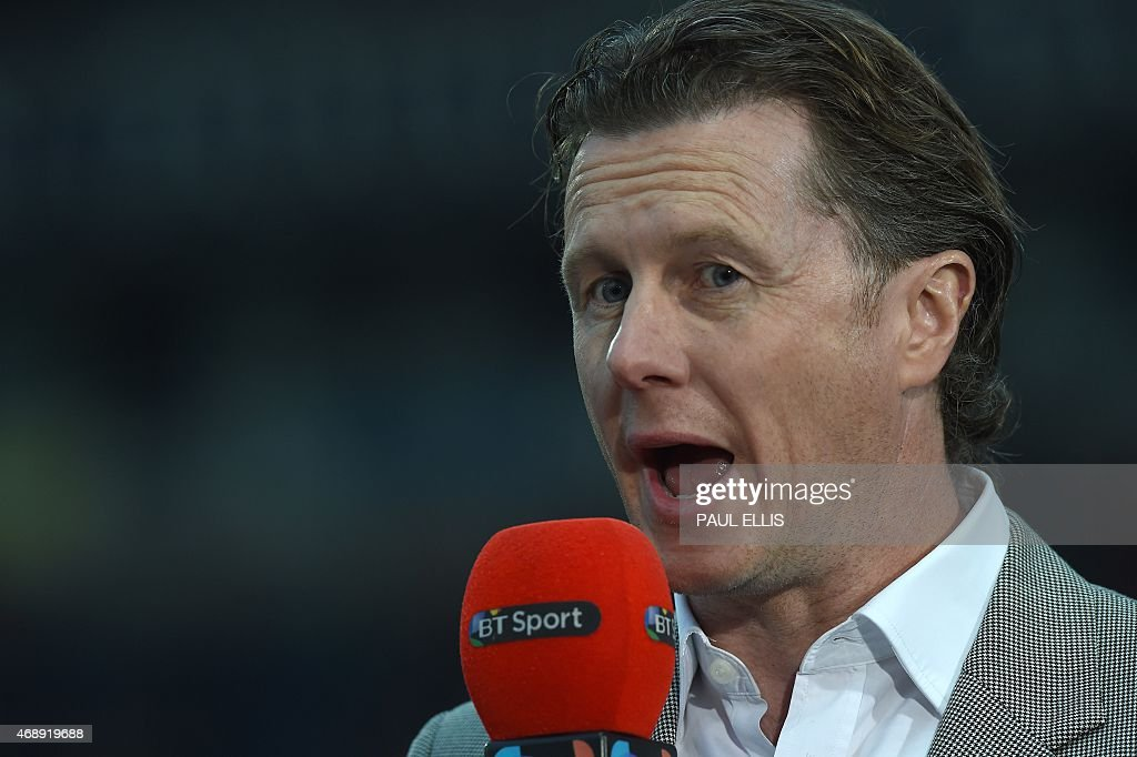 Former Liverpool player Steve Mcmanaman now a TV pundit broadcasting ahead of the English FA Cup quarterfinal replay football match between Blackburn...
