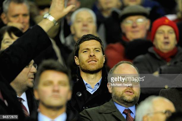 Former Liverpool player Xabi Alonso looks on during the Barclays Premier League match between Liverpool and Arsenal at Anfield on December 13 2009 in...