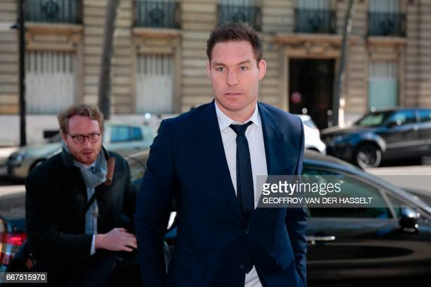 Former lock Ali Williams of New Zealand arrives for an appearance before the French National Rugby League disciplinary commission in Paris on April...
