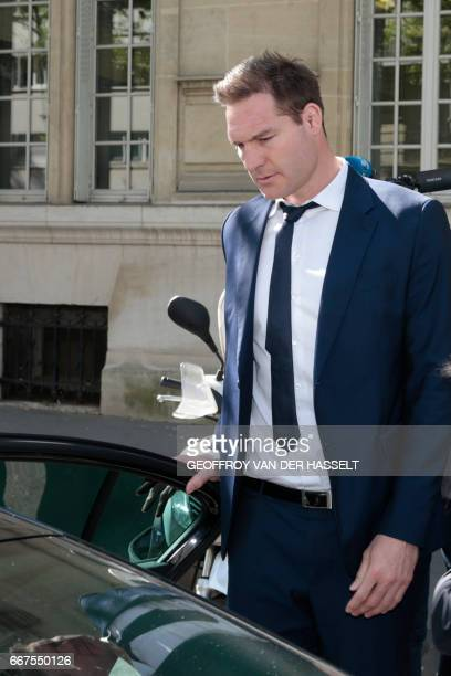 Former lock Ali Williams of New Zealand gets into a car as he leaves after appearing before the French National Rugby League disciplinary commission...