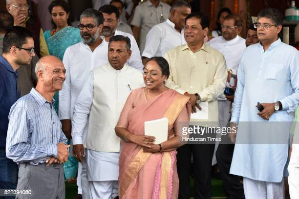 Former Lok Sabha Speaker Meira Kumar and MPs after swearingin ceremony of President Ram Nath Kovind at Parliament on July 25 2017 in New Delhi India...