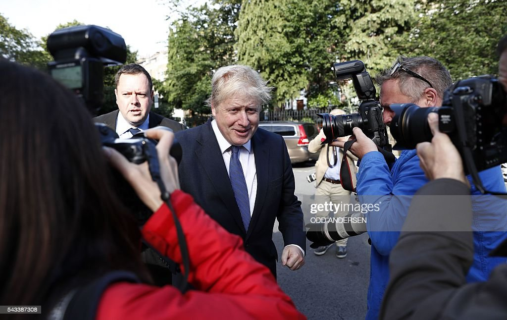 Former London mayor and Brexit campaigner Boris Johnson leaves his home in London on June 28, 2016. EU leaders attempted to rescue the European project and Prime Minister David Cameron sought to calm fears over Britain's vote to leave the bloc as ratings agencies downgraded the country. Britain has been pitched into uncertainty by the June 23 referendum result, with Cameron announcing his resignation, the economy facing a string of shocks and Scotland making a fresh threat to break away. / AFP / ODD