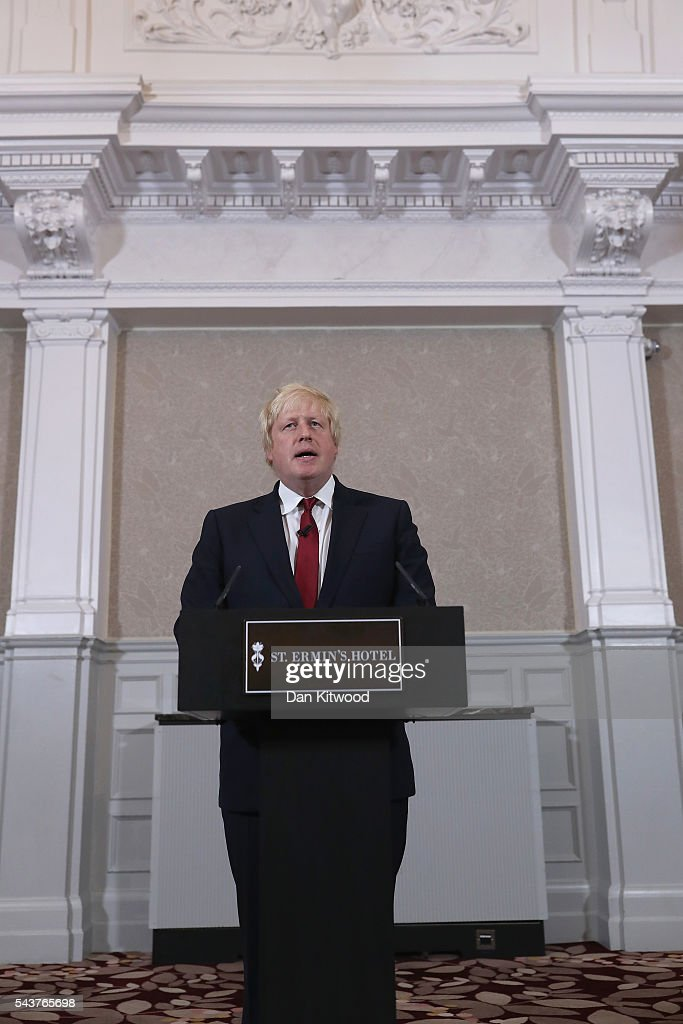 Former London Mayor and Conservative MP <a gi-track='captionPersonalityLinkClicked' href=/galleries/search?phrase=Boris+Johnson&family=editorial&specificpeople=209016 ng-click='$event.stopPropagation()'>Boris Johnson</a> speaks as he launches his bid to become the next Conservative party leader at St Ermin's Hotel on June 30, 2016 in London, England. Nominations for MP's to declare their intention to run for the Conservative Party Leadership and therefore British Prime Minister will close by noon today. The current Prime Minister and party leader, David Cameron, announced his resignation the day after the UK voted to leave the European Union.