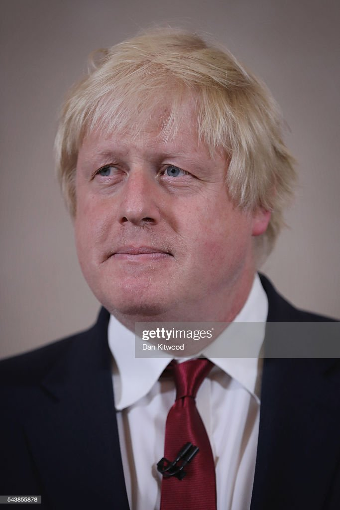 Former London Mayor and Conservative MP <a gi-track='captionPersonalityLinkClicked' href=/galleries/search?phrase=Boris+Johnson&family=editorial&specificpeople=209016 ng-click='$event.stopPropagation()'>Boris Johnson</a> speaks as he rules himself out of becoming the next Conservative party leader at St Ermin's Hotel on June 30, 2016 in London, England. Nominations for MP's to declare their intention to run for the Conservative Party Leadership and therefore British Prime Minister will close by noon today. The current Prime Minister and party leader, David Cameron, announced his resignation the day after the UK voted to leave the European Union.