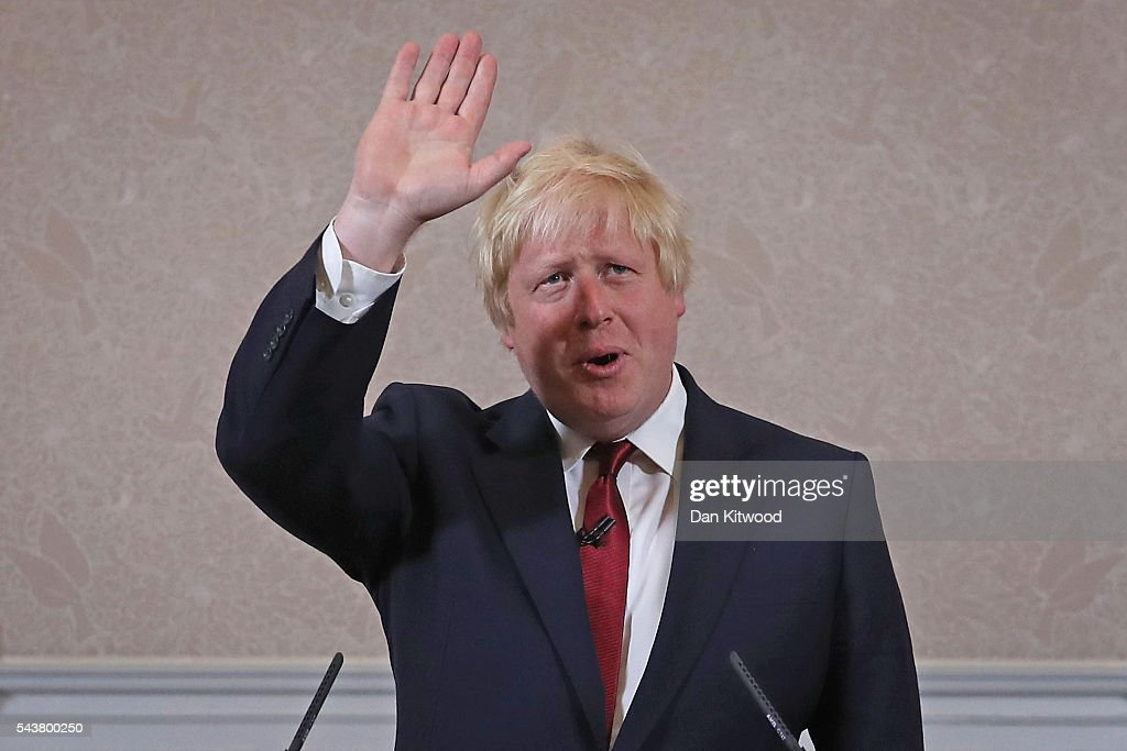 Former London Mayor and Conservative MP <a gi-track='captionPersonalityLinkClicked' href=/galleries/search?phrase=Boris+Johnson&family=editorial&specificpeople=209016 ng-click='$event.stopPropagation()'>Boris Johnson</a> waves as he speaks ruling himself out of becoming the next Conservative party leader at St Ermin's Hotel on June 30, 2016 in London, England. Nominations for MP's to declare their intention to run for the Conservative Party Leadership and therefore British Prime Minister will close by noon today. The current Prime Minister and party leader, David Cameron, announced his resignation the day after the UK voted to leave the European Union.