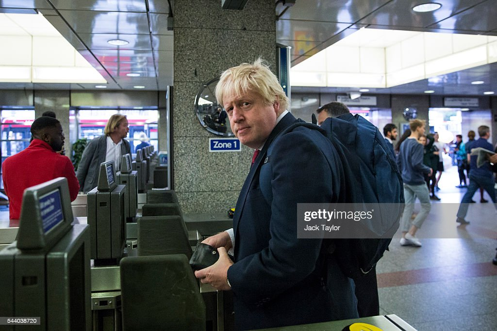 Former London Mayor <a gi-track='captionPersonalityLinkClicked' href=/galleries/search?phrase=Boris+Johnson&family=editorial&specificpeople=209016 ng-click='$event.stopPropagation()'>Boris Johnson</a> enters the London Underground after leaving his Islington home on July 1, 2016 in London, England. Mr Johnson backed out of the Conservative Leadership contest yesterday after his ally and supporter Justice Secretary Michael Gove announced he too would run. Home Secretary Theresa May is now leading the race to head the Conservative Party that could lead to becoming Prime Minister.