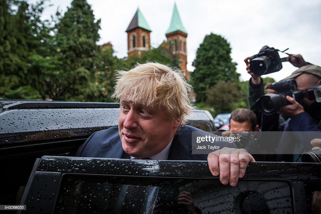 Former London Mayor <a gi-track='captionPersonalityLinkClicked' href=/galleries/search?phrase=Boris+Johnson&family=editorial&specificpeople=209016 ng-click='$event.stopPropagation()'>Boris Johnson</a> leaves his home by car on June 27, 2016 in London, England. Mr Johnson is thought to be the frontrunner to succeed Prime Minister David Cameron after he resigned following the European Union referendum result to leave.