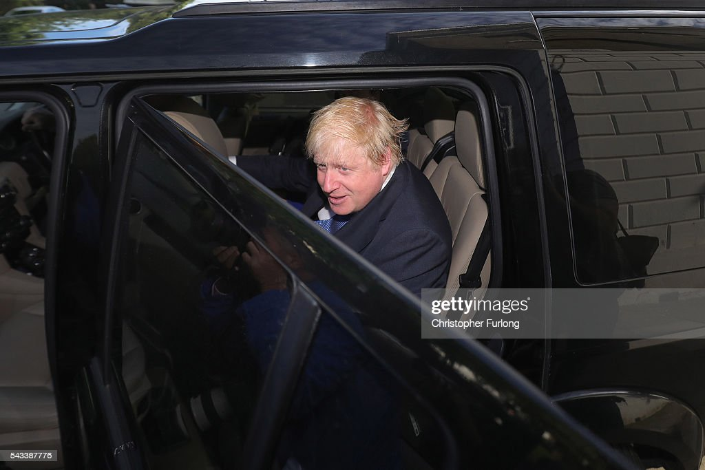 Former London Mayor <a gi-track='captionPersonalityLinkClicked' href=/galleries/search?phrase=Boris+Johnson&family=editorial&specificpeople=209016 ng-click='$event.stopPropagation()'>Boris Johnson</a> leaves his home by car on June 28, 2016 in London, England. Mr Johnson is thought to be the frontrunner to succeed Prime Minister David Cameron after he resigned following the European Union referendum result to leave.