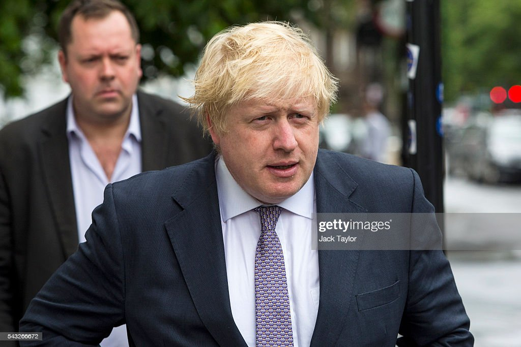 Former London Mayor <a gi-track='captionPersonalityLinkClicked' href=/galleries/search?phrase=Boris+Johnson&family=editorial&specificpeople=209016 ng-click='$event.stopPropagation()'>Boris Johnson</a> leaves his home on June 27, 2016 in London, England. Mr Johnson is thought to be the frontrunner to succeed Prime Minister David Cameron after he resigned following the European Union referendum result to leave.