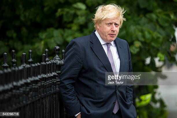 Former London Mayor Boris Johnson leaves his home on June 27 2016 in London England Mr Johnson is thought to be the frontrunner to succeed Prime...