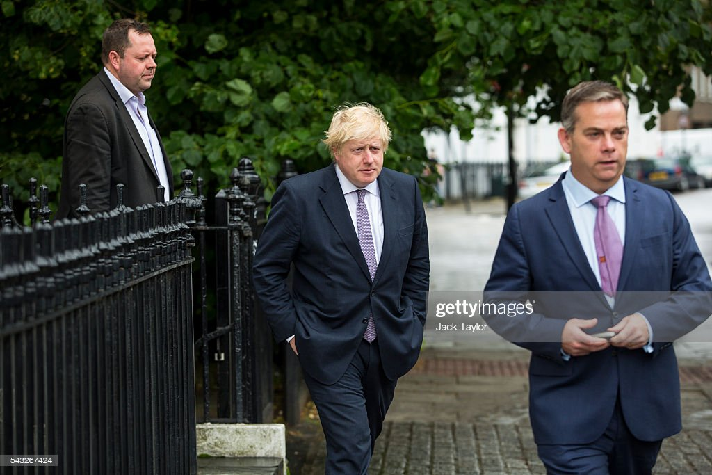 Former London Mayor <a gi-track='captionPersonalityLinkClicked' href=/galleries/search?phrase=Boris+Johnson&family=editorial&specificpeople=209016 ng-click='$event.stopPropagation()'>Boris Johnson</a> (C) leaves his home on June 27, 2016 in London, England. Mr Johnson is thought to be the frontrunner to succeed Prime Minister David Cameron after he resigned following the European Union referendum result to leave.