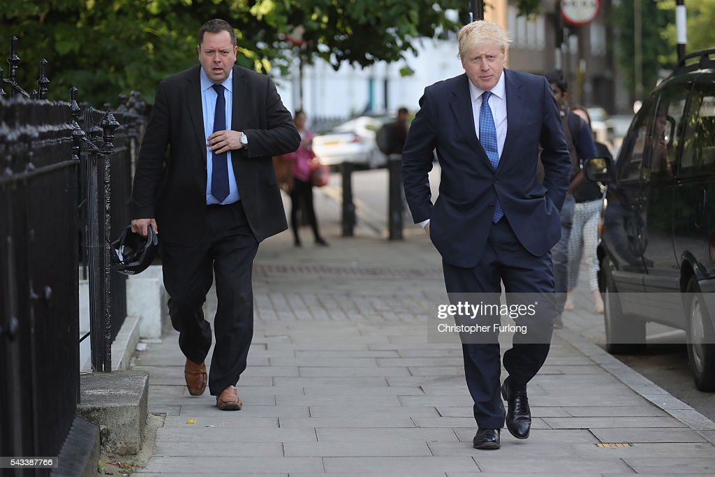 Former London Mayor <a gi-track='captionPersonalityLinkClicked' href=/galleries/search?phrase=Boris+Johnson&family=editorial&specificpeople=209016 ng-click='$event.stopPropagation()'>Boris Johnson</a> leaves his home on June 28, 2016 in London, England. Mr Johnson is thought to be the frontrunner to succeed Prime Minister David Cameron after he resigned following the European Union referendum result to leave.
