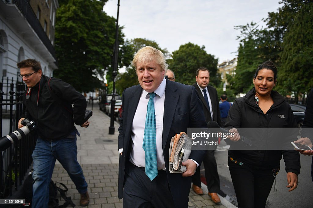 Former London Mayor <a gi-track='captionPersonalityLinkClicked' href=/galleries/search?phrase=Boris+Johnson&family=editorial&specificpeople=209016 ng-click='$event.stopPropagation()'>Boris Johnson</a> leaves his home on June 29, 2016 in London, England. Nominations in the Tory Party leadership race open today with MP <a gi-track='captionPersonalityLinkClicked' href=/galleries/search?phrase=Boris+Johnson&family=editorial&specificpeople=209016 ng-click='$event.stopPropagation()'>Boris Johnson</a>, Home Secretary Theresa May and Work and Pensions Minster Stephen Crabb expected to declare by midday on Thursday. The new leader will move straight into Downing Street by 9 September.