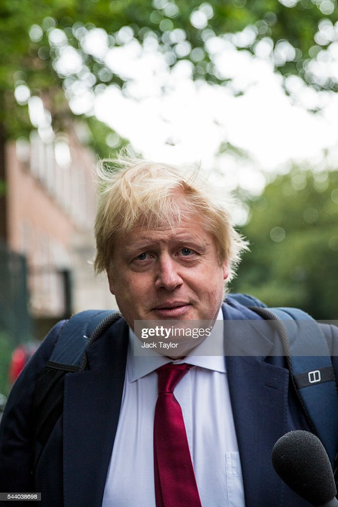 Former London Mayor <a gi-track='captionPersonalityLinkClicked' href=/galleries/search?phrase=Boris+Johnson&family=editorial&specificpeople=209016 ng-click='$event.stopPropagation()'>Boris Johnson</a> leaves his Islington home on July 1, 2016 in London, England. Mr Johnson backed out of the Conservative Leadership contest yesterday after his ally and supporter Justice Secretary Michael Gove announced he too would run. Home Secretary Theresa May is now leading the race to head the Conservative Party that could lead to becoming Prime Minister.