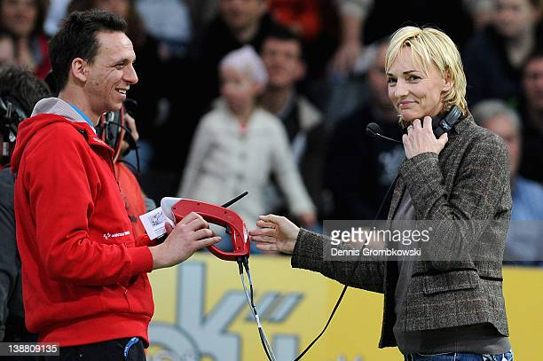 Former Long Jump athlet Heike Drechsler gives a start signal during the International Indoor Track and Field Meeting at Europahalle on February 12...