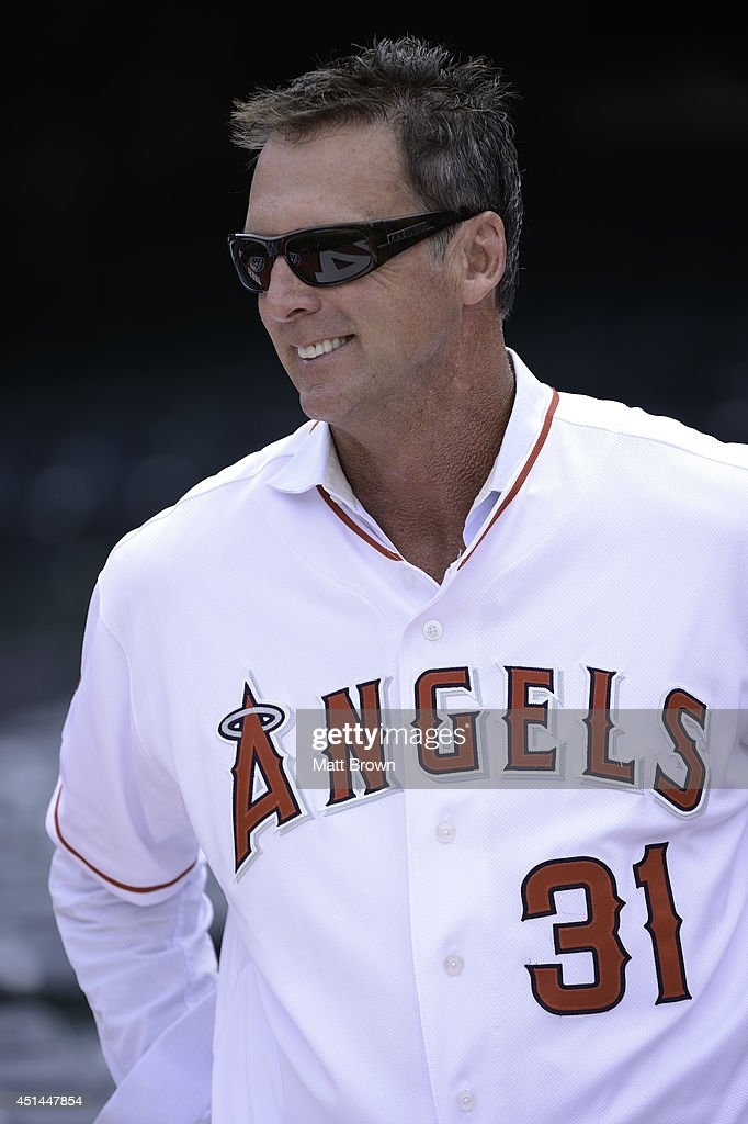 Former Los Angeles Angels player <a gi-track='captionPersonalityLinkClicked' href=/galleries/search?phrase=Chuck+Finley&family=editorial&specificpeople=242777 ng-click='$event.stopPropagation()'>Chuck Finley</a> before the game against the Texas Rangers on June 21, 2014 at Angel Stadium of Anaheim in Anaheim, California.