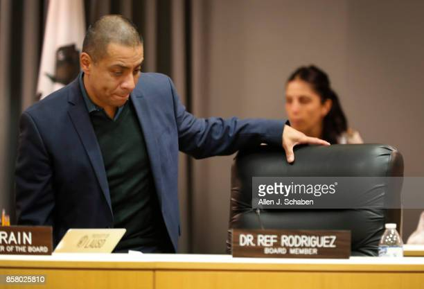 Former Los Angeles Board of Education president and current board member Ref Rodriguez takes a seat before the Los Angeles Board of Education voted...