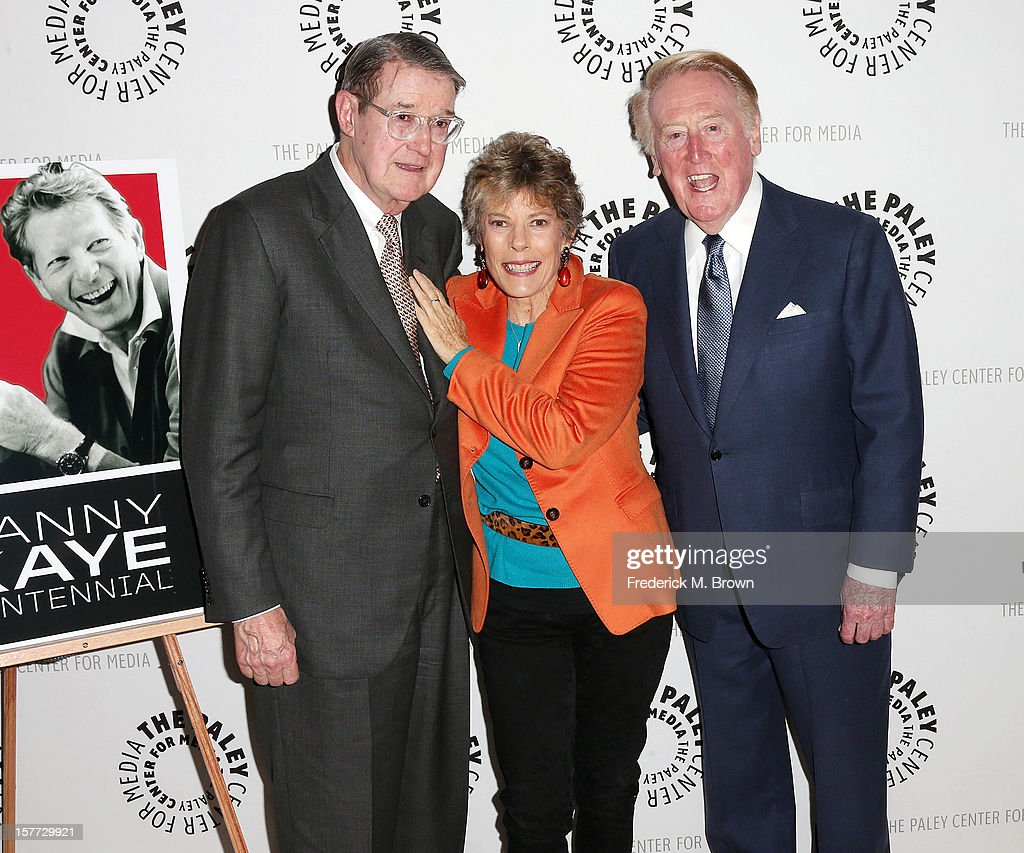 Former Los Angeles Dodgers owner, Peter O'Malley, Dena Kaye, and Los Angeles Dodgers Baseball announcer <a gi-track='captionPersonalityLinkClicked' href=/galleries/search?phrase=Vin+Scully&family=editorial&specificpeople=878517 ng-click='$event.stopPropagation()'>Vin Scully</a>, attend The Paley Center For Media's Holiday Salute To Danny Kaye at The Paley Center for Media on December 5, 2012 in Beverly Hills, California.