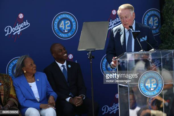 Former Los Angeles Dodgers play by play announcer Vin Sculley speaks onstage as Rachel Robinson left and Kevin Frazier look on during the Los Angeles...