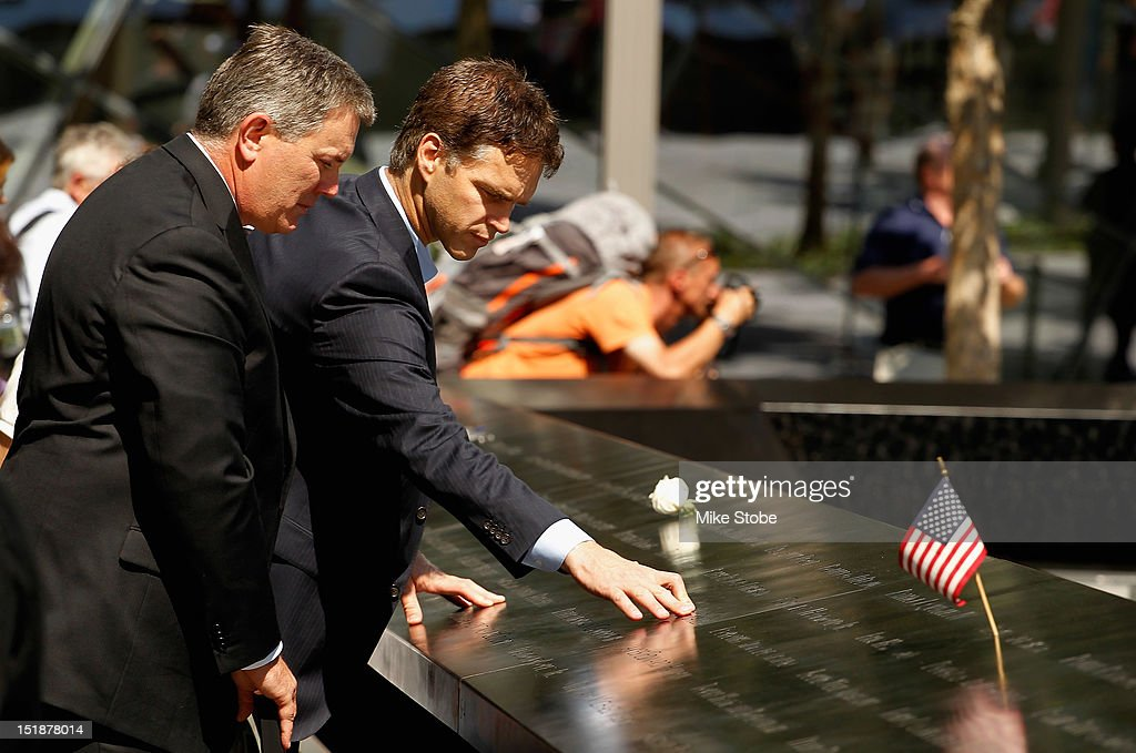 Former Los Angeles Kings Player Luc Robitaille and Los Angeles Kings Governor Tim Leiweke Pay Tribute To 9/11 Victims Garnet 'Ace' Bailey, the Kings' director of pro scouting, and amateur scout Mark Bavis at the reflecting pools in lower Manhattan at the World Trade Center site on September 12, 2012 in New York City.The Los Angeles Kings felt the loss of Garnet 'Ace' Bailey, the Kings' director of pro scouting, and amateur scout Mark Bavis when hijackers took control of their scheduled Boston-to-Los Angeles flight and crashed the plane into the south tower of New York's World Trade Center.