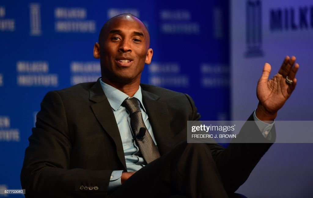 Former Los Angeles Laker Kobe Bryant responds to questions during the 'End of an Era: A Conversation with NBA Great Kobe Bryant' discussion at the 2016 Milken Institute Global Conference in Beverly Hills, California on May 3, 2016. / AFP / FREDERIC