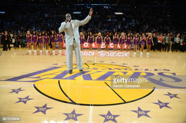 Former Los Angeles Lakers great Shaquille O'Neal thanks the Lakers fans during halftime of Minnesota Timberwolves and Los Angeles Lakers game after...