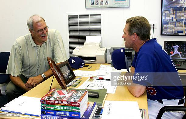 Former Los Angeles Lakers head coach Phil Jackson left visits with Los Angeles Dodgers manager Jim Tracy prior to San Diego Padres vs Los Angeles...