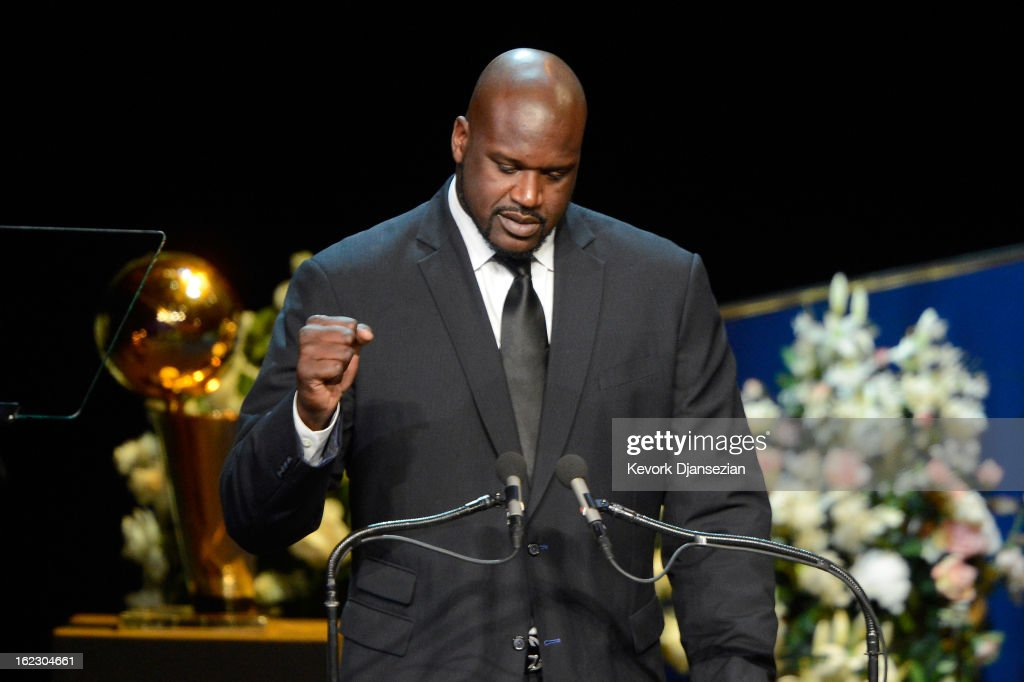 Former Los Angeles Lakers star <a gi-track='captionPersonalityLinkClicked' href=/galleries/search?phrase=Shaquille+O%27Neal&family=editorial&specificpeople=201463 ng-click='$event.stopPropagation()'>Shaquille O'Neal</a> speaks during a memorial service for Los Angeles Lakers owner Dr. Jerry Buss at the Nokia Theatre L.A. Live on February 21, 2013 in Los Angeles, California. Dr. Buss died at the age of 80 on Monday following an 18-month battle with cancer. Buss won 10 NBA championships as Lakers owner since purchasing the team in 1979.