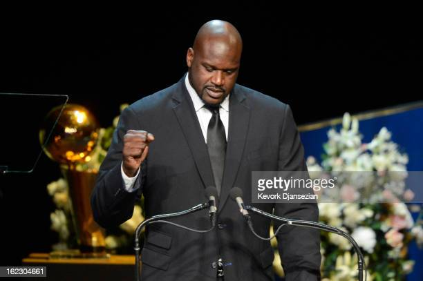 Former Los Angeles Lakers star Shaquille O'Neal speaks during a memorial service for Los Angeles Lakers owner Dr Jerry Buss at the Nokia Theatre LA...