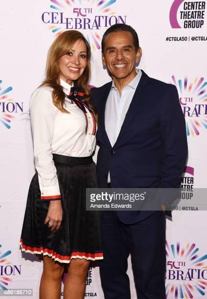Former Los Angeles Mayor Antonio Villaraigosa and Patricia Govea attend the Center Theatre Group's 50th Anniversary Celebration at the Ahmanson...